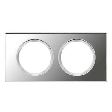 LEGRAND Céliane Plaque Matières 2 postes Verre miroir - 069122