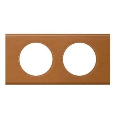 LEGRAND Céliane Plaque Matières 2 postes Cuir caramel - 069422