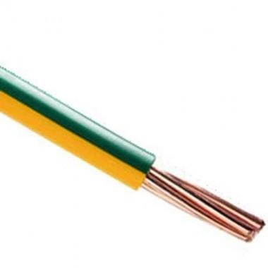 Fil électrique rigide HO7VR 10² vert / jaune au mètre