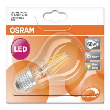OSRAM Ampoule LED filament E27 230V dimmable standard 6,5W 806lm