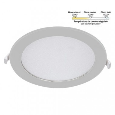Downlight LED extra plat à encastrer 230V 18W 1300lm CCT 220mm blanc