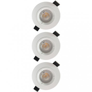 Lot de 3 spots LED encastrables 85mm GU10 230V 3x5W 380lm 2700°K blanc