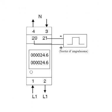 POLIER Compteur d'énergie Tétrapolaire  80A avec Ecran LCD Certifié MID - Modbus