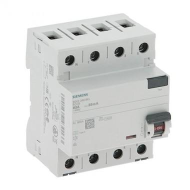 SIEMENS Interrupteur différentiel tétrapolaire 30mA 4 modules 400V type A 63A