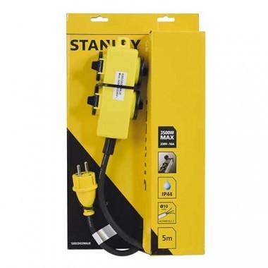 Rallonge électrique avec bloc 4 prises à clapet 5m H07RN-F 3G1,5 STANLEY - 227359