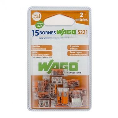 WAGO S221 Blister de 15 bornes de connexion automatique 2 fils - 2