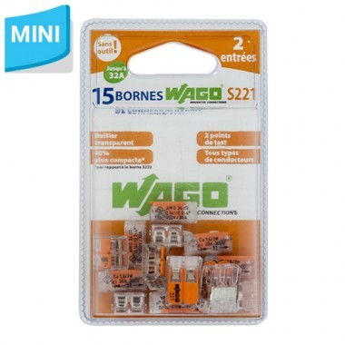 WAGO S221 Blister de 15 bornes de connexion automatique 2 fils