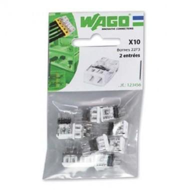WAGO Sachet de 10 mini-bornes de connexion 2 fils S2273 - 2