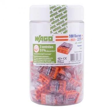 WAGO Pot de 100 mini-bornes de connexion 3 fils S2273 - 2