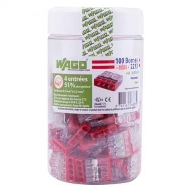 WAGO Pot de 100 mini-bornes de connexion 4 fils S2273 - 2