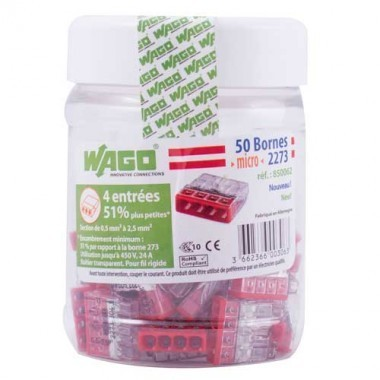 WAGO Flacon de 50 mini-bornes de connexion 4 fils S2273 - 2