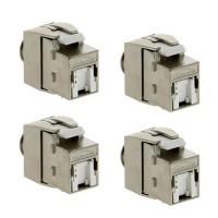 IKEPE Lot de 4 connecteurs RJ45 Categorie 6a STP femelle Grade 3TV
