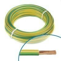 Fil électrique rigide H07VR 6mm² vert/jaune - Couronne de 100m