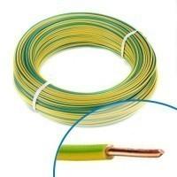 Fil électrique rigide H07VU 1.5mm² vert/jaune - Couronne de 100m