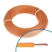 Fil électrique rigide H07VU 1.5mm² orange - Couronne de 100m