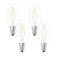 OSRAM Lot de 4 ampoules LED filament E14 230V 2,5W(=25W) 250lm 2700°K flamme