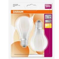 OSRAM Lot de 2 Ampoules LED en verre dépoli 1055lm E27 8W standard blanc chaud 230V