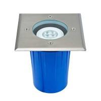 Spot LED extérieur encastré de sol carré GU10 5W 380lm 3000K IP67 inox