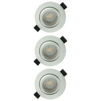 Lot de 3 spots LED encastrables et orientables 85mm GU10 230V 3x5W 380lm 2700°K blanc