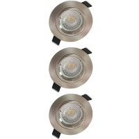 Lot de 3 spots LED encastrables 85mm GU10 230V 3x5W 380lm 2700°K alu brossé