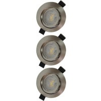 Lot de 3 spots LED encastrables et orientables 85mm GU10 230V 3x5W 380lm 2700°K alu brossé