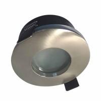 Support de spot encastré fixe rond IP65 pour salle de bain 82mm alu brossé
