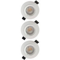 Lot de 3 spots LED encastrables 85mm GU10 230V 3x5W 380lm 2700K blanc