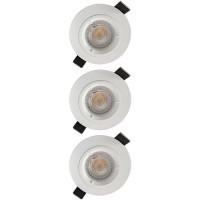 Lot de 3 spots LED encastrables 85mm GU10 230V 3x5W 380lm 4000K blanc