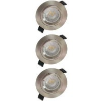Lot de 3 spots LED encastrables 85mm GU10 230V 3x5W 380lm 2700K alu brossé