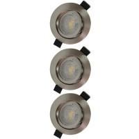 Lot de 3 spots LED encastrables et orientables 83mm GU10 230V 3x5W 380lm 4000K alu brossé