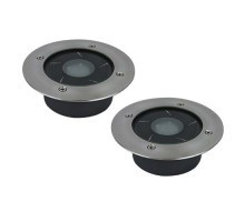 Lot de 2 spots solaires LED encastrables 120mm 1W 50lm 6000 ° K IP67 inox