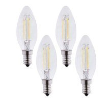 Lot de 4 Ampoules LED E14 230V 4W(=40W) 495lm 2700K flamme