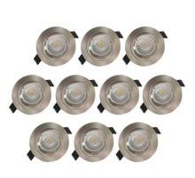 Lot de 10 spots LED encastrables 85mm GU10 230V 10x5W 380lm 2700°K alu brossé