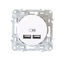 Prise USB SCHNEIDER Odace double 2100mA blanc - S520407