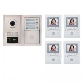 Pack visiophone encastré avec 4 combinés - GTBV4E AIPHONE