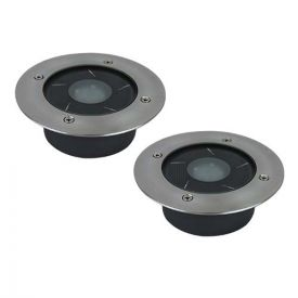 Lot de 2 spots solaires LED encastrables 120mm 1W 50lm 6000°K IP67 Inox