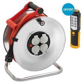 BRENNENSTUHL Enrouleur électrique métal pro 25m H07RN-F 3G2,5 + baladeuse LED offerte - 1231641