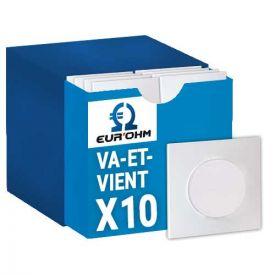 EUROHM SQUARE Pack complet 10 interrupteurs va et vient + 10 plaques simples blanc