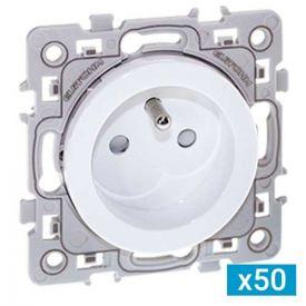 EUROHM Square Lot de 50 prises de courant 2P+T blanc - 60269