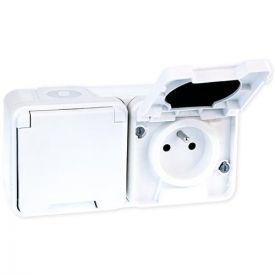 EUROHM Oxxo Double prise de courant 2P+T étanche complet blanc IP55 - 60851
