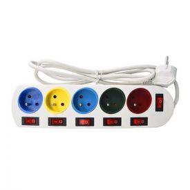 Multiprise 5 prises 2P+T avec interrupteurs individuels 16A - Câble 1,4m