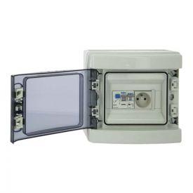 IKEPE Tableau électrique prééquipé étanche 8 modules 1ID 40A 1 disjoncteur + 1 prise