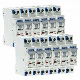 IKEPE Lot de 12 disjoncteurs 10A Ph+N courbe C 4.5kA 230V - IKE823291-L12