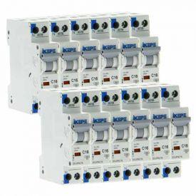 IKEPE Lot de 12 disjoncteurs 16A Ph+N courbe C 4.5kA 230V - IKE823292-L12