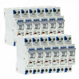 IKEPE Lot de 12 disjoncteurs 20A Ph+N courbe C 4.5kA 230V - IKE823293-L12