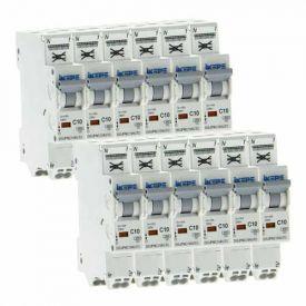 IKEPE Lot de 12 disjoncteurs 10A auto Ph+N courbe C 4.5kA 230V - IKE823296-L12