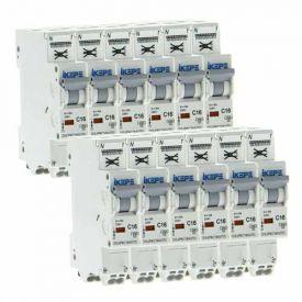 IKEPE Lot de 12 disjoncteurs 16A auto Ph+N courbe C 4.5kA 230V - IKE823297-L12