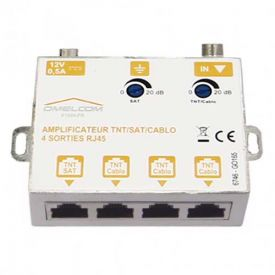 IKEPE Amplificateur TV TNT SAT 4 sorties RJ45