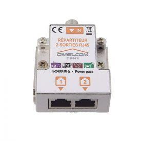 IKEPE Répartiteur TV 1 entrée coaxiale et 2 sorties TV sur RJ45