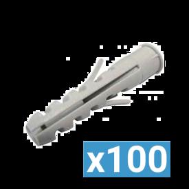 ING FIXATIONS Cheville nylon D6 avec collerette - Boite de 100 - A170083
